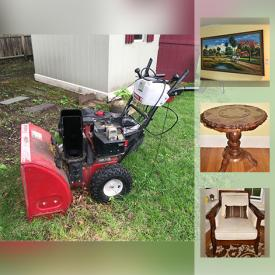 MaxSold Auction: This online auction features artwork, crystal, microwave, refrigerator, TVs, DVD player, figurines, fireplace tools, umbrellas, jewelry, vacuums, exercise bike, washer and dryer, bowling ball, office supplies, weights, luggage, outdoor furniture, garden tools and much more.