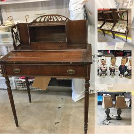 MaxSold Auction: This online auction features Blue Mountain Pottery pieces. Punch bowl set. Photos mounted in vintage window frames. White wicker, antique desk, dresser and chairs. GAMING: Wii console, several Xbox consoles, controllers and games and more!