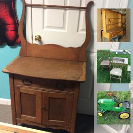 MaxSold Auction: This online auction features ANTIQUE: Pottery, furniture. VINTAGE: Furniture, sled, wheeled chest. Hand painted cast iron base table. Glass: Depression, Milk glass, cut/pressed serving pieces. Sporting goods. Kids stuff and much more!
