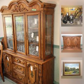 MaxSold Auction: This online auction features furniture, collectibles, dishes, vintage items, crystal and glassware, kitchenware, books, artworks, pottery, appliances, camera and much more.