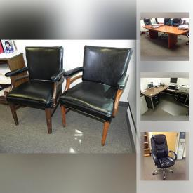 MaxSold Auction: This online auction features office chairs, boardroom table, framed wall art, office storage unit, bookshelves, office desks, metal filing cabinet, and much more!