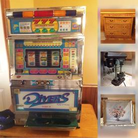 MaxSold Auction: This online auction features a Pachislo slot machine. Glass top travertine pedestal table. Natuzzi leather sectional with recliner. Candanian antique pieces. Handmade Log Cabin quilt and pillows. Antique Queen Anne oak ocassional table. Collectible pottery and much more!
