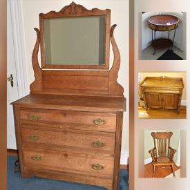 MaxSold Auction: This auction features Antique Pie Keeper, Antique Oak Sideboard, office chair, Vintage Cane Seat Rocker, oak Dresser, Antique Solid Oak Dresser, plants, Anti Gravity Chair and much more!