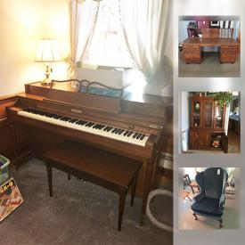 """MaxSold Auction: This online auction features FURNITURE: Living room; desk; dining room and 2 bedroom suites. LG 32"""" TV. COLLECTIBLE: LP's; large crock; vintage typewriters. CHINA : Stylehouse 12 place settings. KENMORE FREEZER and much more!"""