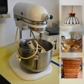 MaxSold Auction: This online auction features kitchen appliances, furniture, bakeware, dishware, glassware, collectibles, decor, clothes, artwork and much more!