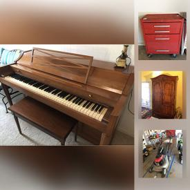 MaxSold Auction: This online auction features Acrosonic by Baldwin upright Piano, pool supplies, yard tools, Cleaning Products, Small Kitchen Appliances, Royal Doulton China, Bookshelf, artworks, antique furniture, decorative swords, statues, Vintage Historic Items and much more.