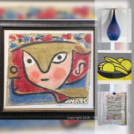 MaxSold Auction: This online auction features prints, posters, vintage photos signed artwork, antique maps, stones, mirror, luggage, garden figures, lamps, planter bases and much more.