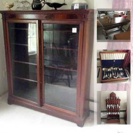 MaxSold Auction: This online auction features Furniture, lamps and Decor, artworks, Books, Vintage Cameras And Equipment, collectibles, tools, decors, Silverware, Dinnerware Set, Tins, Rain Gear and much more.