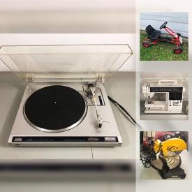 MaxSold Auction: This online auction features a Maestro Guitar; Elna sewing machine; Technics turntable; Kayser sewing machine table; LGB train bar advertisements; Omega juice extractor; Vintage Argus camera; Guitar Hero video game and accessories and much more!