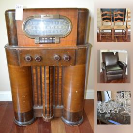 MaxSold Auction: This online auction features ANTIQUE: SONORA CRANK-OPERATED RECORD PLAYER. VINTAGE: 1930s Art Deco radio. Wooden display shelf for miniatures. COLLECTIBLE:  Colorado Rockies memorabilia; toys. CRYSTAL/GLASS: Depression glass; Bubble glass. VINTAGE: Pyrex and assorted china and much more!