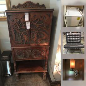 MaxSold Auction: This online auction features salon chairs, washer and dryer, soda dispenser, storage, chandelier, book cases, office supplies, computers, shelving and much more.