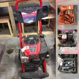 MaxSold Auction: This online auction features Werner ladders and scaffolding, variety of air nailers by Paslode, Hitachi and Bostitch, power tools by DeWalt, Troy Built power washer, air compressors, shelving units, hand tools, free weights, storage bins and much more!