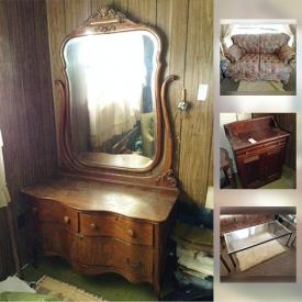 MaxSold Auction: This online auction features Antique oak bed and dresser with mirror; washstand; living room upholstered pieces; chrome and glass end/coffee tables/etagere. German cuckoo clock. Vintage stereo console. China and glass and much more!