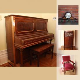 MaxSold Auction: This online auction features a Gerhard Heintzman piano. Antique Eastlake parlour set. Vintage record cabinet; washstand and washbasin set; Beasie Pease Gutmann print. Leather bound 46 volume set of Agatha Christie books. Crystal pieces including a Waterford ball. New exercise equipment including an Aero Pilates Machine and much more!