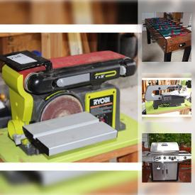 """MaxSold Auction: This online auction features Harvard foosball game, furniture such as office corner desk, optical table with wheeled base, bookshelves, and drafting table, tools such as Ryobi table saw, mortising attachments, Ryobi biscuit joiner, and Rigid-Orbital sander, Kenmore refrigerator, Brinkman Smoke and Grill, Samsung 58"""" smart TV, Husky power washer and much more!"""