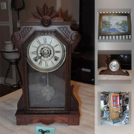 MaxSold Auction: This online auction features Keno slot machine, antique Sessions mantel clocks, collectibles such as vintage Disney cookie jars, sterling silver, collectible ceramics, and milk glass, art such as Maxwell Parish framed photography, framed vintage prints, and figurines, secretary hutch, The Houston Post jackets, decanters and much more!