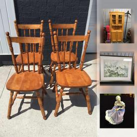 MaxSold Auction: This online auction features an antique Mennonite carriage bench, collectibles such as vintage silver plate, vintage perfume bottles, Royal Doulton figurines, and Swarovski crystals, furniture such as vintage headboard, vintage three tiered table, and vintage lamps, art such as vintage framed prints, signed acrylic, and signed watercolour, quartz watches, semi-precious and costume jewelry, vintage chandelier, antique Asian decor and much more!