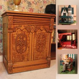 MaxSold Auction: This online auction features Victorian dollhouse and furnishings, furniture such as cherry wood drop leaf table, Vilas dresser, Sklar Peppler sofa bed, and tea trolley, collectibles such as Wedgwood, Limoges, and Coalport china, art such as framed prints, Grace Macintosh watercolour, framed textiles, and framed brass rubbings, office supplies, ladders, barware, bakeware, wooden crafting frame, men's and ladies Scottish wear and much more!