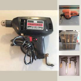 MaxSold Auction: This online auction features TOOLS: Cast iron vise, tools box with tools, power tools, shop light, subfloor adhesives and much more!