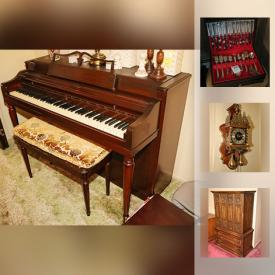 MaxSold Auction: This online auction features Beanie Babies, sewing machines, books, records, lamps, piano, toys, glassware, rugs, camera, shelving, TVs, costume jewelry, figurines, outdoor furniture, grill, flatware, safe, beds, tools, snowblower, office supplies, holiday decor and much more.