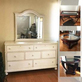 MaxSold Auction: This online auction features Bassett Furniture White Dresser and Entertainment Cabinet, Bassett Hutch, Dining Table and Chairs, Danby Freezer, Iron Bar Stools, Occasional Tables and much more!
