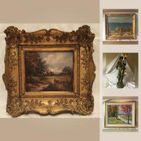"""MaxSold Auction: This online auction features ART: George Thomson oil on canvas, Stuart Davis ink on paper, Tom Longboat's soapstone sculpture and more! A Bronze Moreau signed lamp. 4 heart backed chairs. Mikasa """"Bristol"""" service for 8 with serving pieces. Stoneware jugs and much more!"""