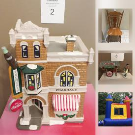 """MaxSold Auction: This online auction features Commercial Inflatable Bouncy Castle / Bounce House, Roxton Maple Trestle Dining room Table, Department 56 Original Snow Village Coca-Cola """"Corner Drugstore"""", Columbia Ladies Black Leather Jacket, CorningWare Casserole Dishes, Precious Moments, jewelry, Group of Seven Limited Edition Print """"Rain In The Mountains 1924"""" with COA, Beatrix Potter """"Peter Rabbit"""" Figurine Beswick England, Pancordion Crucianelli Accordion and much more!"""