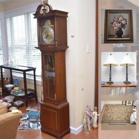 """MaxSold Auction: This online auction features wall art, costume jewelry, Ethan Allen furniture, Henredon side tables, area rugs, microwave, crystal, decorative plates, sterling silver Christmas cross, Samsung 23"""" TV and much more!"""