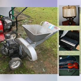 MaxSold Auction: This online auction features a TV, fireplace, keyboard, stereo, CDs, treadmill, exercise bike, toys, lamps, clocks, classical music, computer, office supplies, shelving, magazines, projectors, musical instruments, tools, luggage, leaf blower and much more.