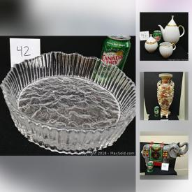 MaxSold Auction: This online auction features MCM glassware and Designer Ware, vases, crystal, candlesticks, wall art, jackets, jewelry, shoes, windows, vintage telephones, mirrors, sterling sets and much more.