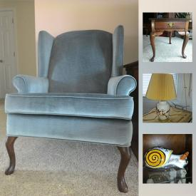 MaxSold Auction: This online auction features Wing Back Chair, coffee table, end tables, teak bench, microwave, coffee maker, Shark Vacuum, Gobels, Pot, Sauce Pan and much more!