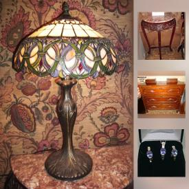 MaxSold Auction: This online auction features pink cultured marble tables, stone bookends, vintage newspapers, carved stone flower arrangements, sterling silver and semi precious stone jewelry, hall runners, dragon themed Cloisonne, freshwater pearl necklaces, alabaster compote, lamp shades, coins, geological specimen fossil, bust, books, beads and art items, antiquarian books, mid-size chest freezer, dehumidifier, collector stamps, white marble occasional tables and much more!