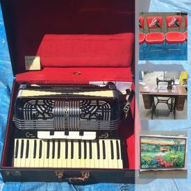 MaxSold Auction: This online auction features lots of paintings and wall decor, accordions, piano, electric organ, wall tapestry, retro Coca-Cola chairs, restaurant tables, Furunco marine radar, boat canopies, bar table and much more!
