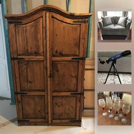 MaxSold Auction: This online auction features custom made loveseat, mirrored coffee table, modern wall art, Bombay and co. dining chairs, crystal punch bowl, rustic wardrobe, antique telephone table and much more!
