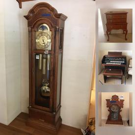 MaxSold Auction: This online auction features a possible Haunted Desk, Outdoor Furniture and Decor, Stained Glass Lamps, Antique Clocks, Bird Collectibles, Grandfather Clock, Yamaha Organ, Limoges China Set, Glassware, Linens and much more.