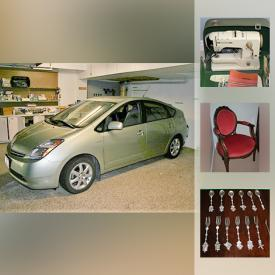MaxSold Auction: This online auction features 2008 Toyota Prius, tools, high quality dishes and pottery, Murano glass vase, dehumidifier, cooler and camping supplies, furniture, vintage Bernina sewing machine, books, faux flowers and vases, carpet runner, StairGlide stairway lift and much more!