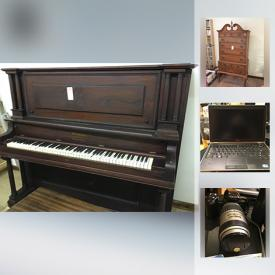 """MaxSold Auction: This online auction features FURNITURE: Antique washstands; vintage secretary; bedroom pieces; Ethan Allen dining room suite and more! Sterling cabinet grand piano. POWER TOOLS: Ryobi mitre saw, Delta 6 inch bench grinder, Sears circular saw table and more! APPLIANCES: Whirlpool washer and dryer. ART: Signed and numbered prints. Sterling serving pieces. CHINA: Arcadia's """"Old Ivory"""" incomplete service for 12 plus serving pieces, 51 pieces Wood & Son """"Sea Earth"""" service for 8 and much more!"""