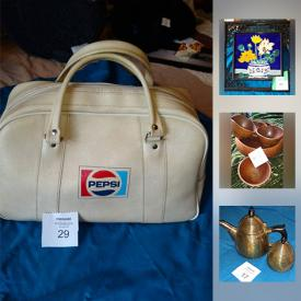 MaxSold Auction: This online auction features oak display case, antique cheese server, copper decor, Pepsi Cola gym bag, framed prints, vintage scarves, PC games, CDs, cell phone accessories, bakeware and much more!