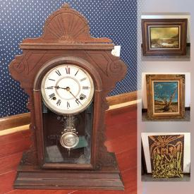 MaxSold Auction: This online auction features original art, glass decor, antiques, murano bowl, face jugs, alien skull, collectible hot wheels, native american decor, Waterbery wood antique clock, cameras, antique electric toaster and much more!