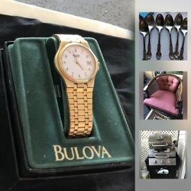MaxSold Auction: This online auction features gold jewelry, commercial grade carpet tiles, original art, exercise bike, vintage collectibles, pearl necklace, furniture, china, nintendo 3ds, bbqs, carved rocking chair and much more!