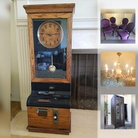 MaxSold Auction: This online auction features Light Fixtures, Long Upholstered Sofa, Queen Anne Card Table, Magnavox Stereophonic Record Player And Radio, Wooden display cabinet with locking glass door, Ornate Wooden Wagon, Telephone booth from the old Olympic Hotel in Seattle and much more.