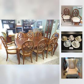 """MaxSold Auction: This online auction features India Tree China tea set (Spode), Blue Willow China, Colclough Bone China Tea Set, Chinz china, Vaseline hobnail glass lamp, Wedgewood, sterling silver, Robert Bateman """"Summer Morning Pasture"""" Limited Edition Print and much more!"""