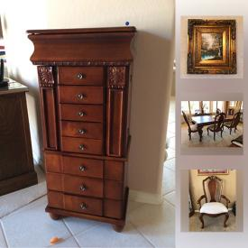 MaxSold Auction: This online auction features vintage furniture, dining table, artwork, Tiffany perfume, decorative items, Jade Foo dogs, colonial pewter plates, cookware, wall decor, glazed pottery, crystal, ceramic statues, pottery, linen, wicker furniture, patio furniture, mini fridge, plant stands and much more!