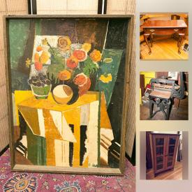 MaxSold Auction: This online auction features wool rugs, Asian art, Antique Nuremberg Chronicle, original art, carvings, folk art, vintage Cuckoo clock, pottery, furniture, Danby bar fridge, heater, vintage native basket, small kitchen appliances, fans, storage containers and much more!