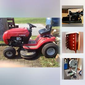 MaxSold Auction: This online auction features lawn tractor, power tools, furniture, patio furniture, gardening tools, art, lamps, air compressor, Bombay Co. dresser, rug, kitchen items, stone bookends, Lagostina cooking set, silver plate, bookcases, steam vac, antique pine flat cupboard and much more!
