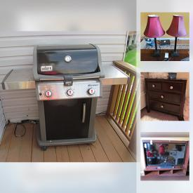 MaxSold Auction: This online auction features a flat screen TVs, lamps, books, grill, outdoor furniture, Xbox, Nintendo Wii, rugs, wall art, guitar, treadmill, light fixtures, costume jewelry and much more.