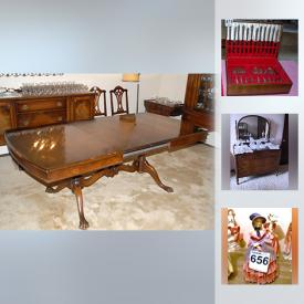 MaxSold Auction: This online auction features Anthes Baetz Furniture Co. dining furniture, TTC memorabilia, a collection of rocks and minerals, antique books, model trains, cast iron coin banks, a large collection of Royal Doulton figurines, teacups and saucers, costume jewelry, artwork, crystal and glassware, kitchenware, wood crates, decor and much more!