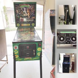 MaxSold Auction: This online auction features artwork, pin ball machine, arcade machine, guitar, speakers, golf clubs, holiday decor, Xbox 360, lamps, patio furniture and much more.