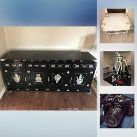 MaxSold Auction: This online auction features asian buffet cabinet, vintage cameras, wedgwood china, Cloisonne vases, kitchen counter appliances, furniture, outdoor furniture, rugs, gold and silver jewelry, vintage radio and much more!