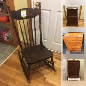 MaxSold Auction: This online auction features vintage metal cooler, vintage wood cabinet, framed art, glassware, coffee porcelain plates, bunny decor, vintage chairs, vintage telephone table, vintage dresser, furniture, punching bag, metal signs, glass chess game and much more!